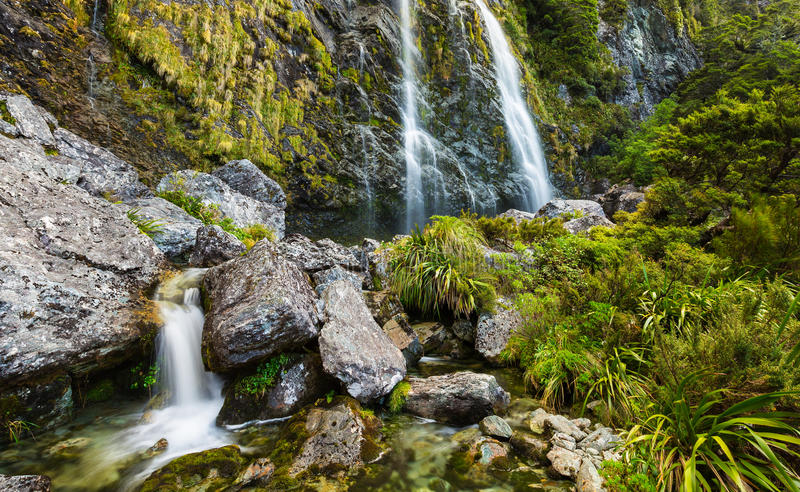 Earland Falls. On Routeburn Track in New Zealand stock photo