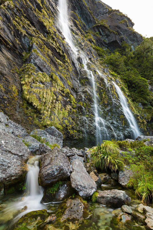 Earland Falls. On Routeburn Track in New Zealand royalty free stock photo