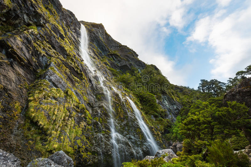 Earland Falls. On Routeburn Track in New Zealand royalty free stock image