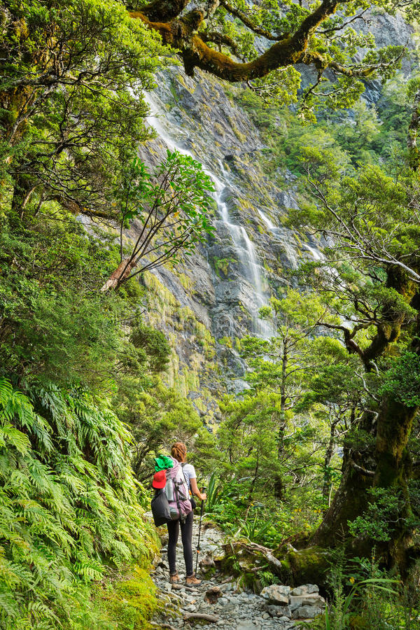 Earland Falls. Woman hiker looking at Earland Falls on Routeburn Track in New Zealand royalty free stock photography