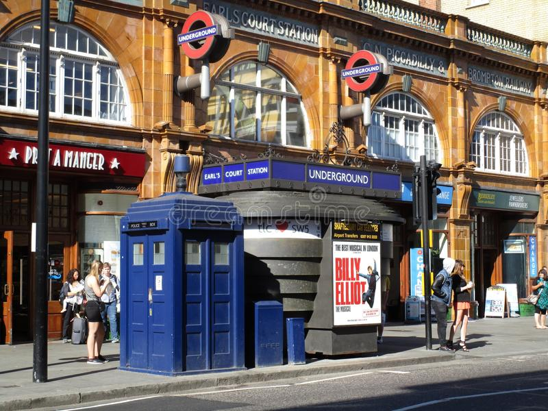 Earls court metro station. With a 1960s police box stock photos