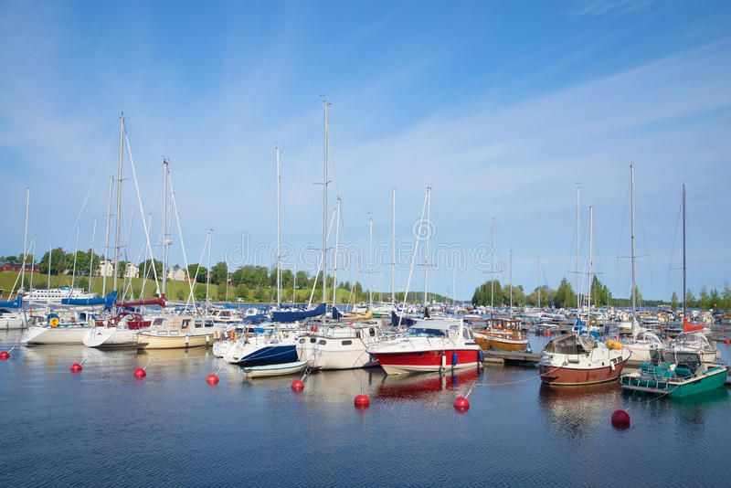 Early august morning in the harbor of lake Saimaa. Tourist landmark of the city Lappeenranta. LAPPEENRANTA, FINLAND - AUGUST 21, 2016: Early august morning in stock image