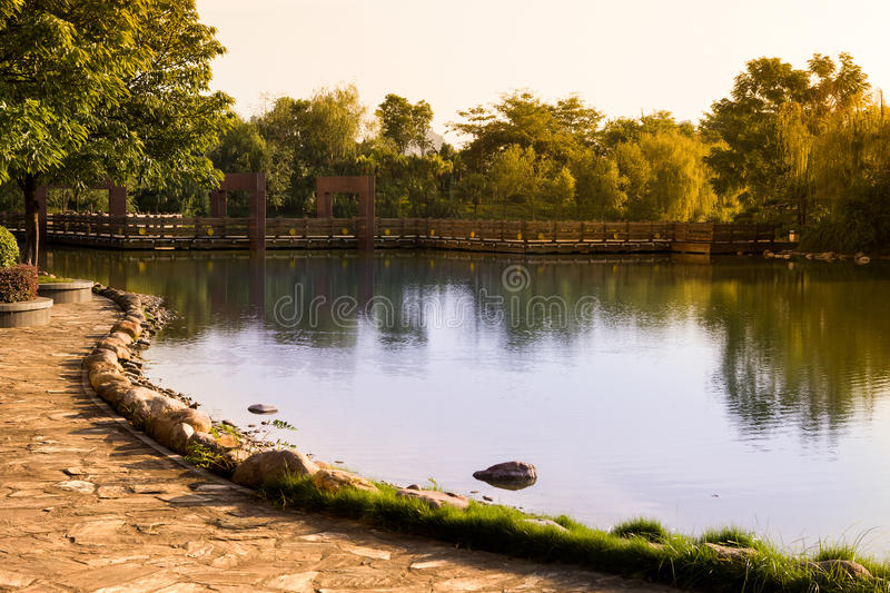 Early autumn lake royalty free stock photography
