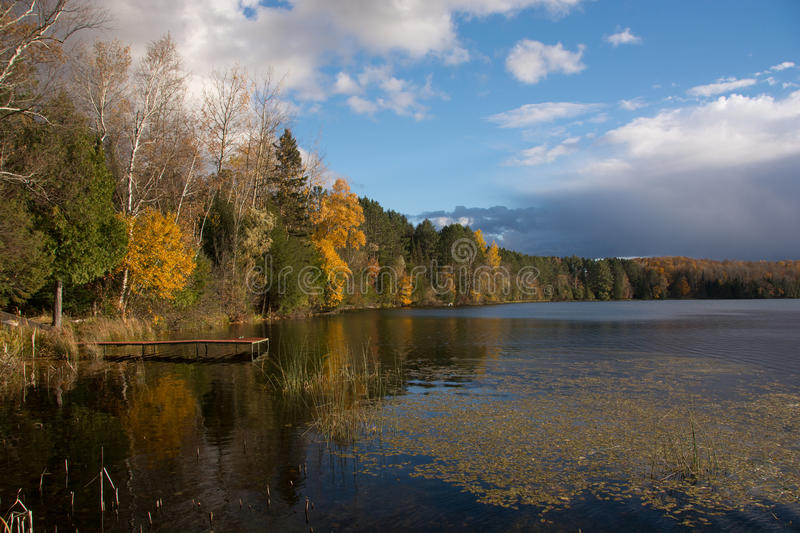 Early Autumn Lake. An early autumn photograph of a small northwoods Wisconsin lake stock photography