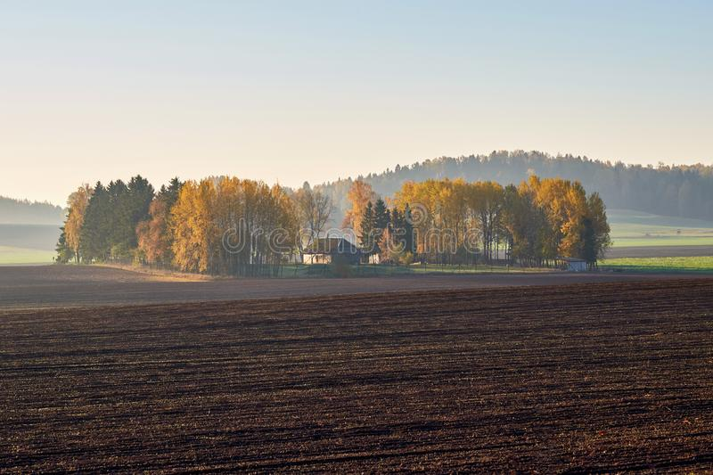 Early autumn morning in Lithuanian village royalty free stock photo