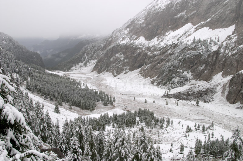 Early autumn snow in Dolomite Mountains stock photography