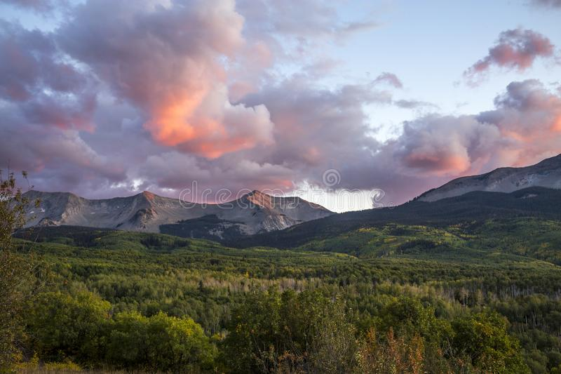 Early Autumn Sunset Going Over Kebler Pass in the Colorado Rocky Mountains.  stock image