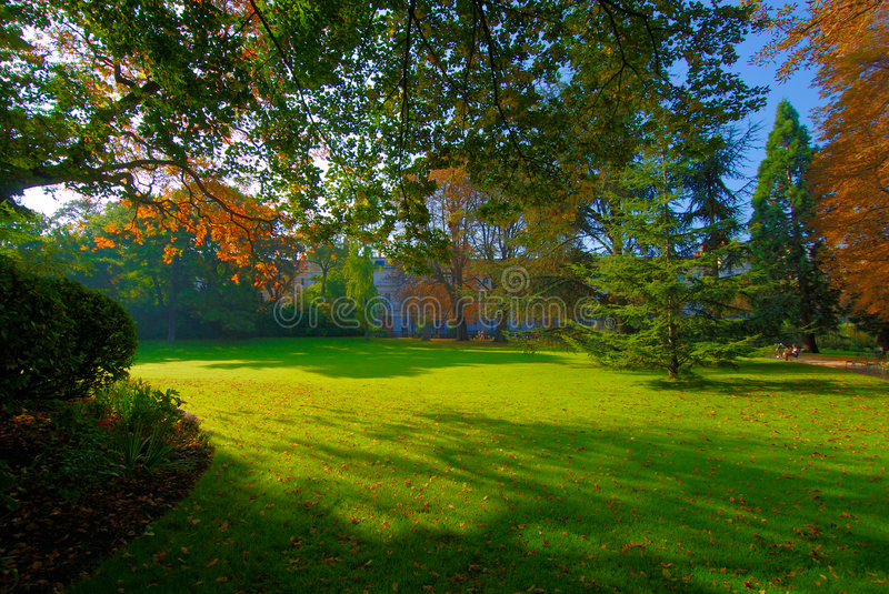 Early autumnal morning in the Luxembourg garden stock image