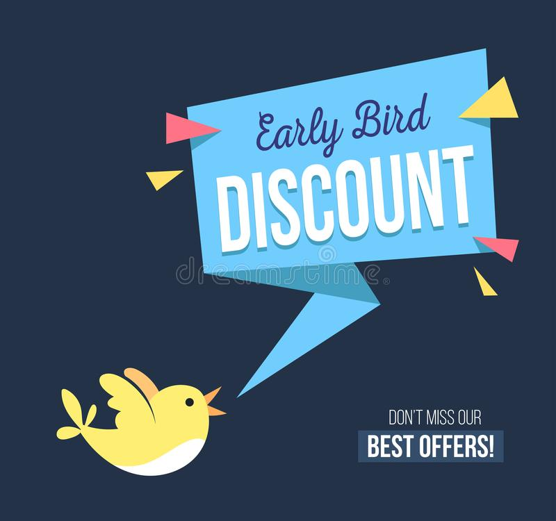 Free Early Bird Discount Banner With Cute Bird And Geomethic Shapes. Stock Photography - 116527052