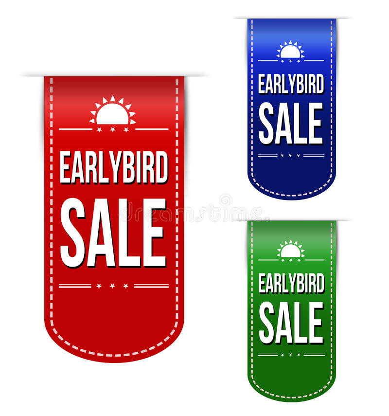 Early bird discount ribbons vector illustration