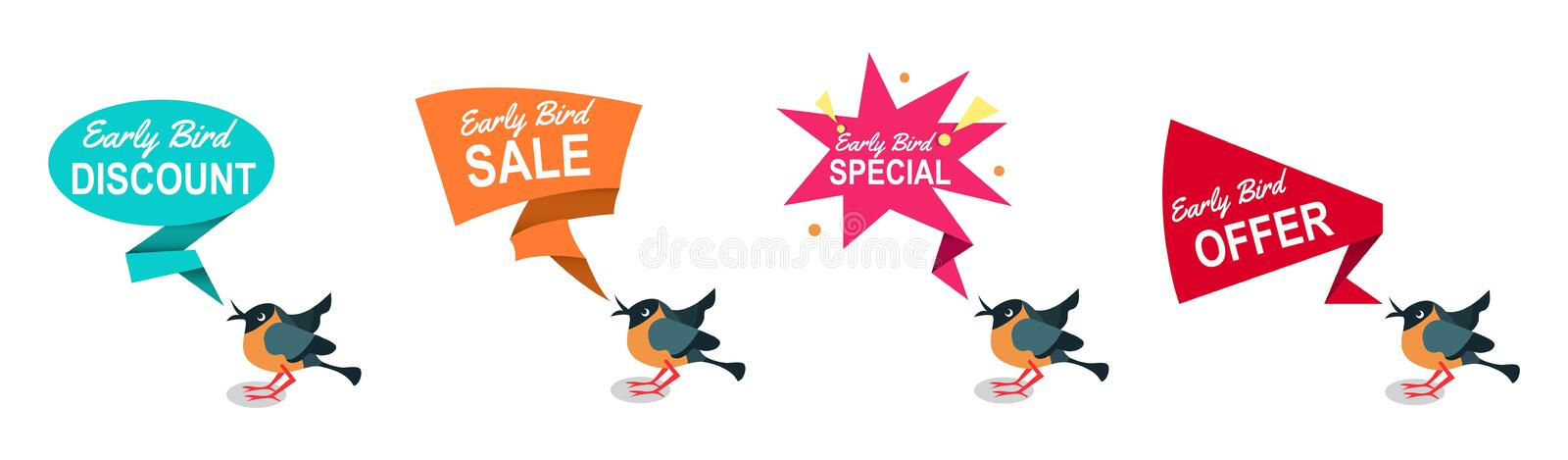 Early bird discounts and sales banners set isolated on white background. Early bird promotions. Vector illustration royalty free illustration