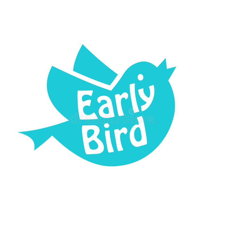 Early bird icon. Discount clipart isolated on white background royalty free illustration