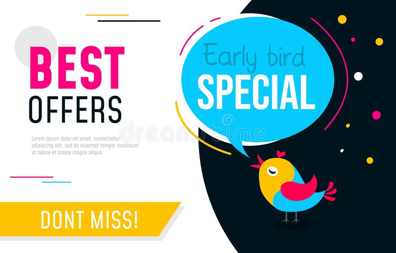 Early bird special flyer or banner design template. Early bird discount promotion. Vector illustration.  vector illustration