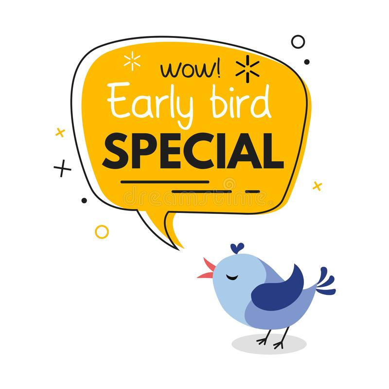 Free Early Bird Special Trendy Design With Bird And Geometric Template. Vector Early Bird Promotion Illustration Stock Image - 145867611