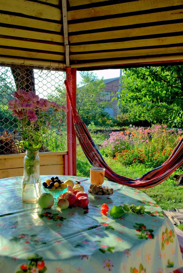 Early breakfast in the garden house overlooking the morning sun-drenched orchard. royalty free stock images