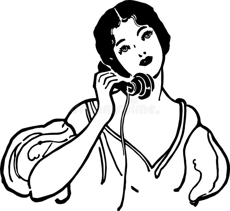 Early Century Gal On The Phone. Early century gal talking on the telephone stock illustration