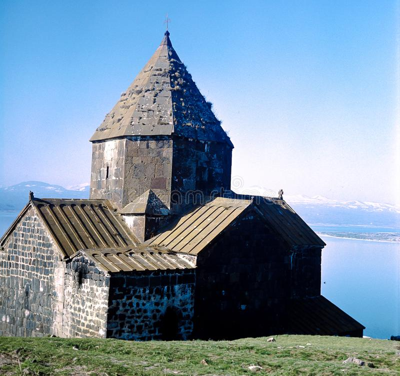 The early christian church of  Sewanawank on the Sewan Lake in Armenia royalty free stock images