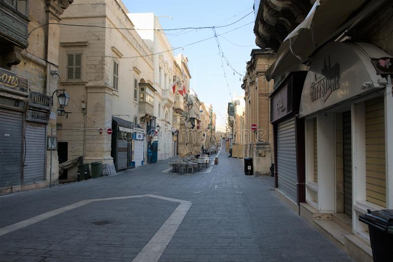 Valletta, Malta, August 2019. View of a deserted central street in the early morning. stock images