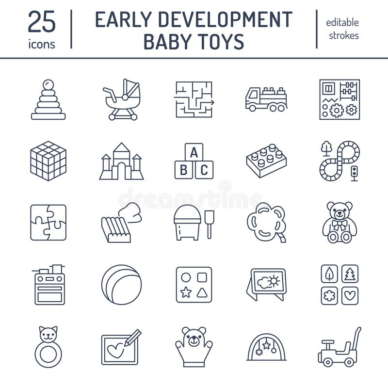 Early development baby toys flat line icons. Play mat, sorting block, busy board, carriage, toy car, kids railroad, maze vector illustration