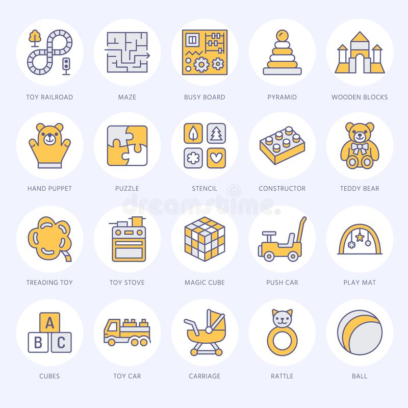 Early development baby toys flat line icons. Play mat, sorting block, busy board, carriage, toy car, kids railroad, maze. Clay, stroller illustrations. Thin vector illustration