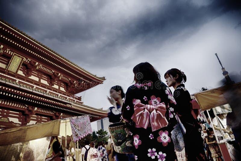 Early Evening Scene Senso-ji Temple Tokyo stock photo