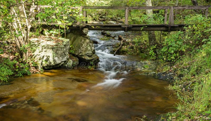 Bridge Over Fallingwater Creek, Blue Ridge Mountains of Virginia, USA. An early fall view of a bridge over Fallingwater Creek located near Peaks of Otter on the stock images