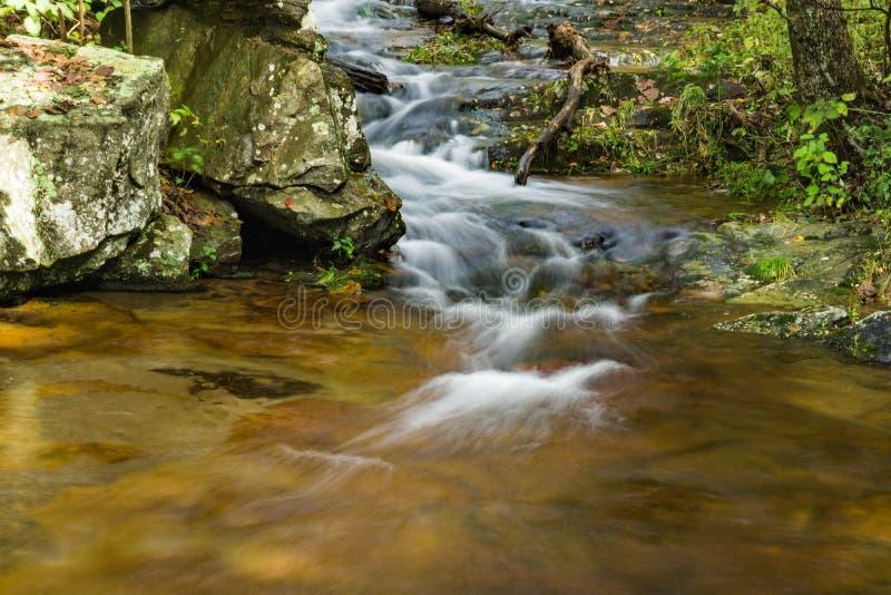 Mountain Trout Stream, Blue Ridge Mountains of Virginia, USA. An early fall view of a mountain trout creek located in the Blue Ridge Mountains of Virginia, USA royalty free stock photo