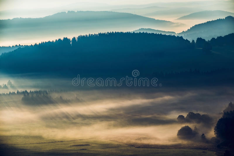 Early fogy autumn morning on the Czech Austrian border. Misty woods and field, Europe landscape stock photography