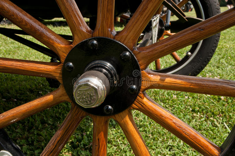 Early Ford Wooden wheel. Wooden spooked wheel from an Early Ford stock photo