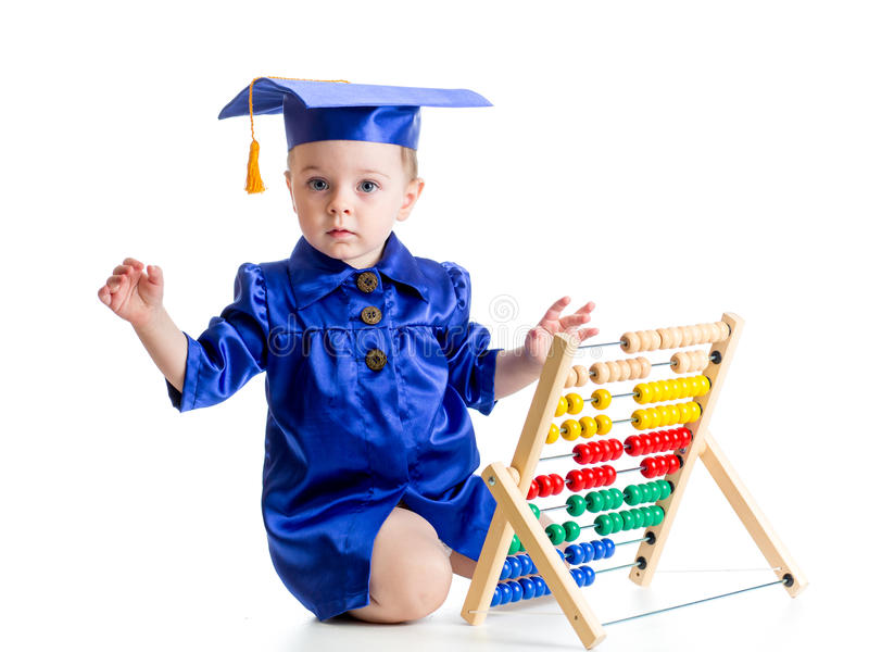 Early learning baby conception. Kid with abacus stock images