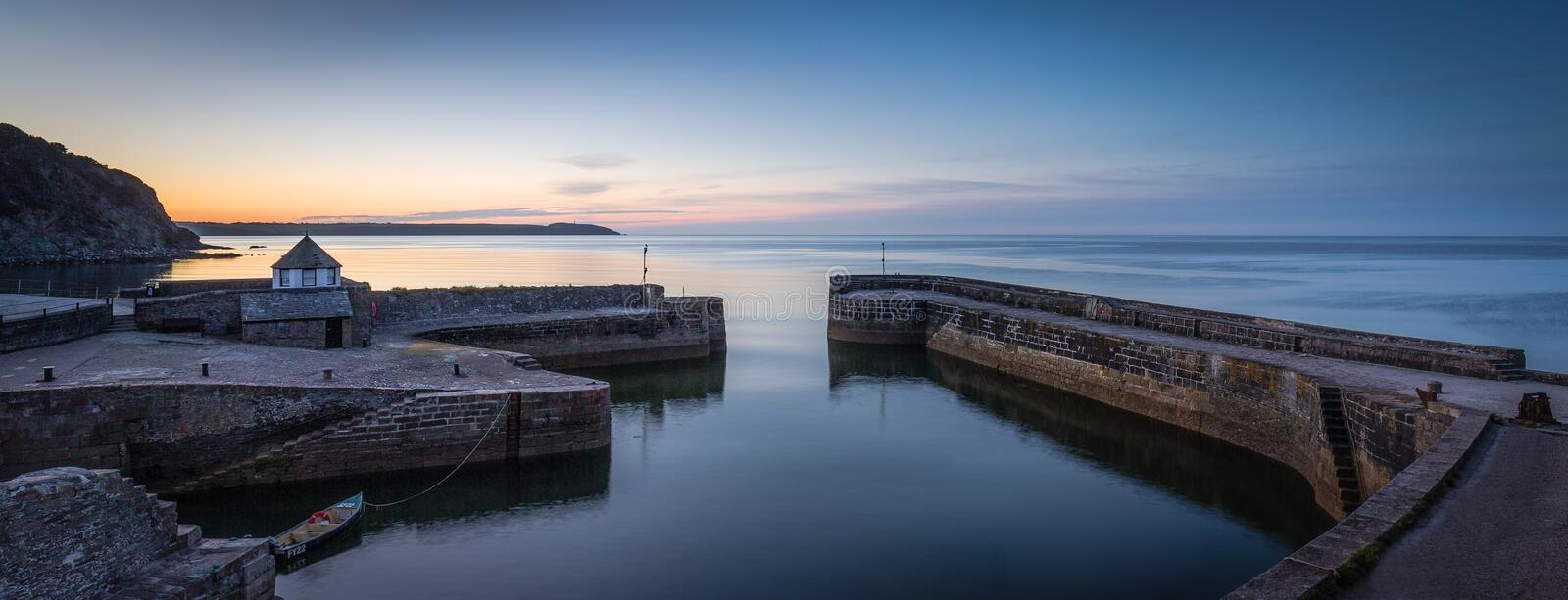 Early Light, Charlestown Harbour, Cornwall. Beautiful blue hour early light at the historic Charlestown Harbour, south Cornwall stock photo