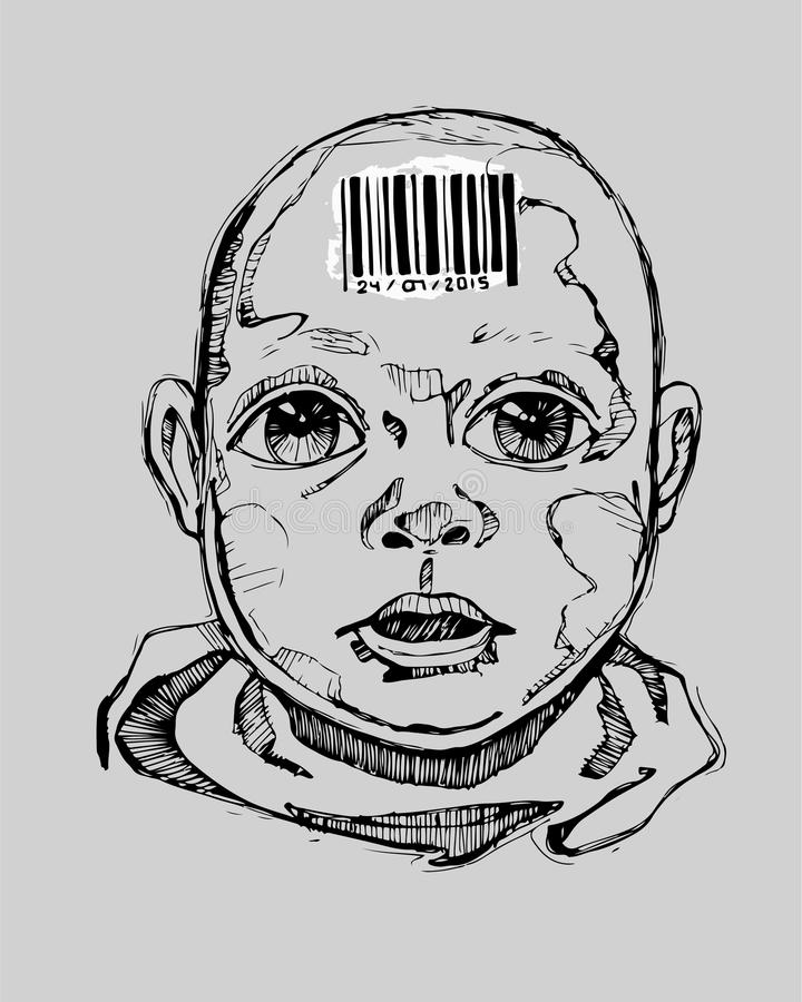 Early manipulation. Hand drawn vector illustration or drawing of a human baby with a bar code on his forehead vector illustration