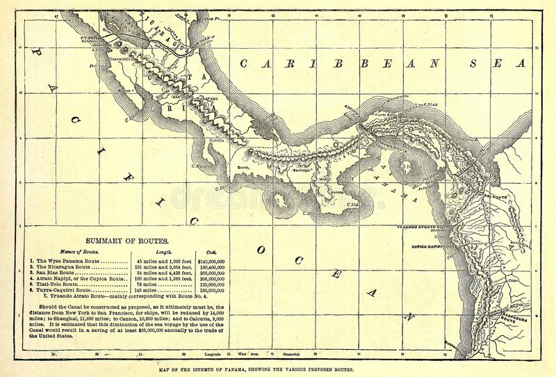 Early map of the Panama Canal. Early and original 1879 map of various possible Panama Canal Routes stock photography