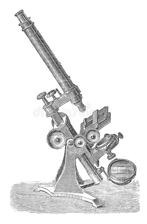 Early microscope drawing royalty free stock photo