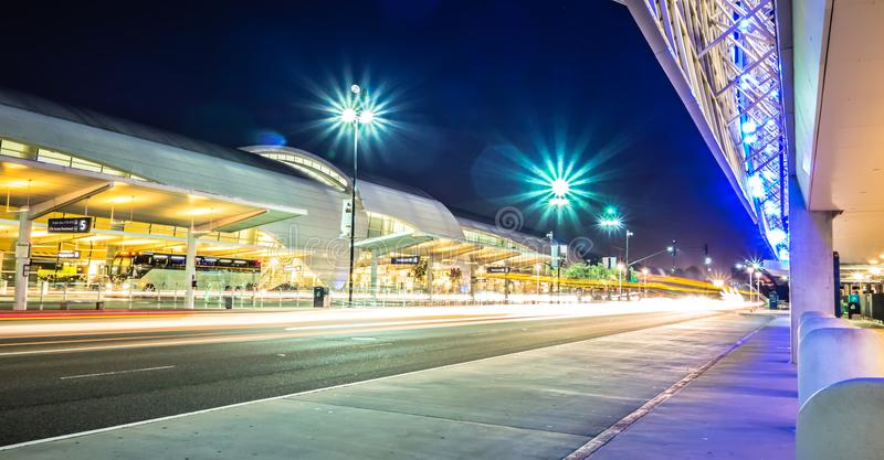 early morning action at san jose california international airport royalty free stock images