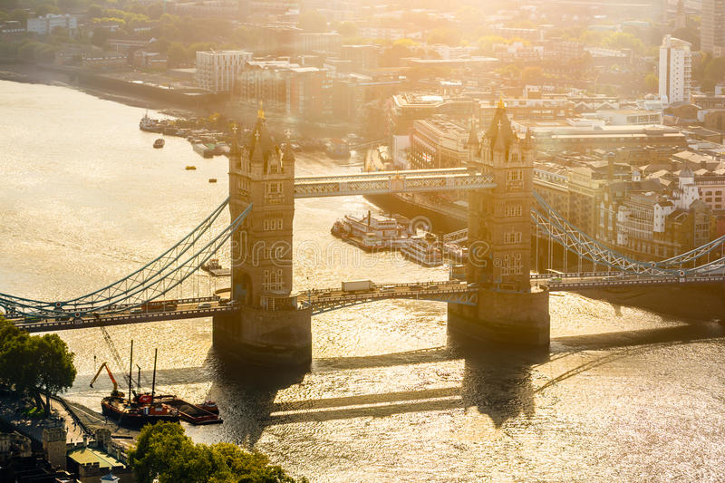 Early morning aerial view of the Tower Bridge stock photo