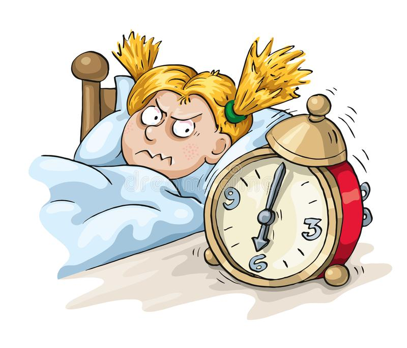 Stress in the Early Morning. The early morning alarm clock rings causes stress to the girl vector illustration
