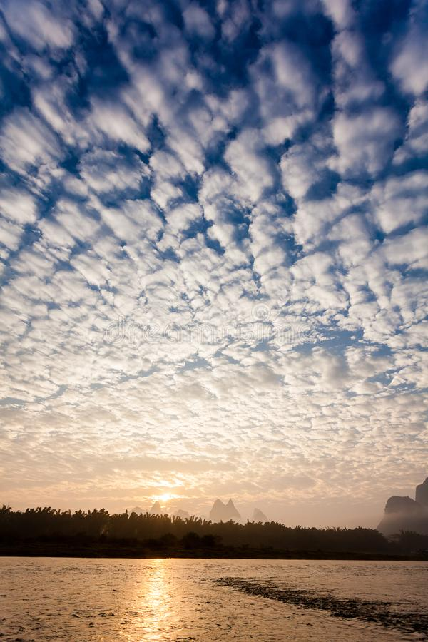 Early morning altocumulus clouds royalty free stock photography