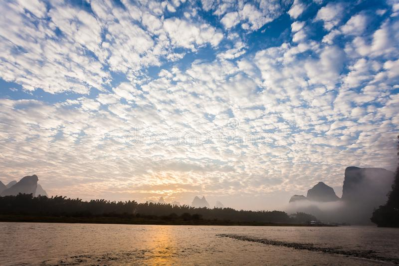 Early morning altocumulus clouds stock photo