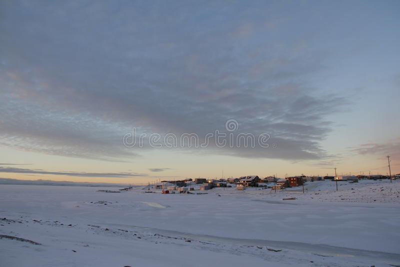 Early morning in the arctic community of Cambridge Bay stock photography