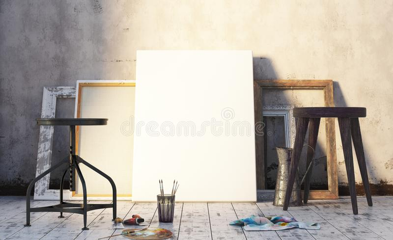 Early morning in artist`s studio, mock up interior stock image