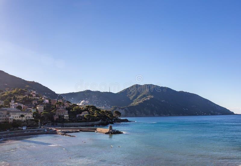 Early morning in the bay on the coast of the Ligurian Sea near Genoa, Italy royalty free stock photos