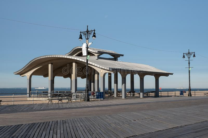 Early morning at  the boardwalk in Coney Island Brooklyn New York royalty free stock photos