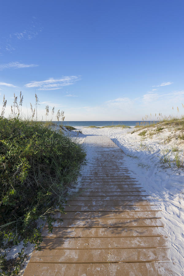 Early Morning Boardwalk to the Gulf of Mexico in Florida stock photos