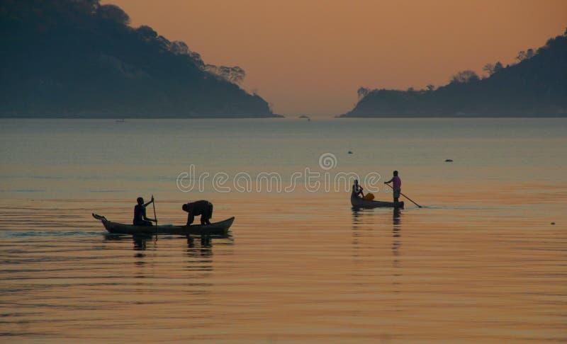 Early morning catch on Lake Malawi stock images