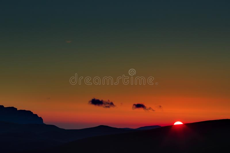 Early morning. Dawn over the mountains of the North Caucasus stock photography