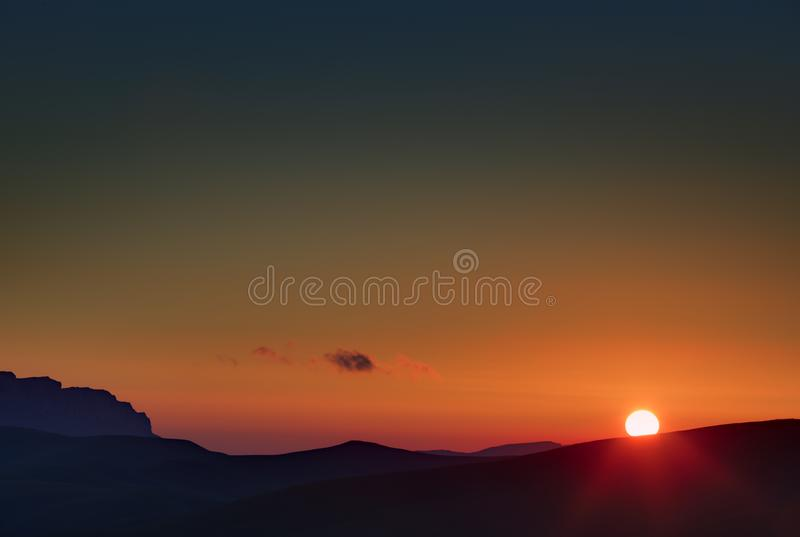 Early morning. Dawn over the mountains of the North Caucasus royalty free stock photo