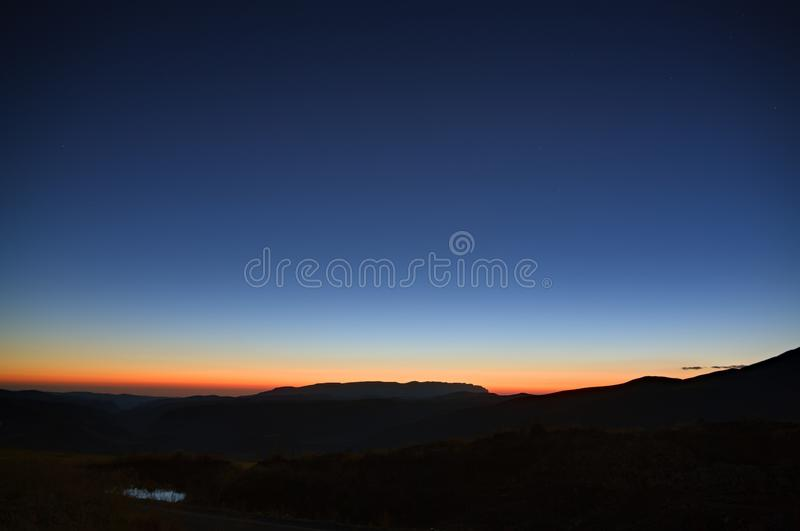 Early morning. Dawn over the mountains of the North Caucasus stock photos