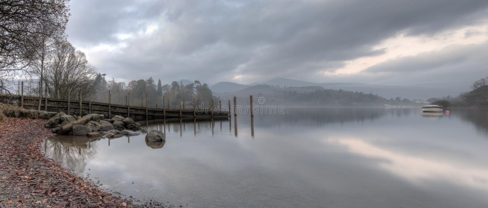 Early Morning Derwentwater. Early monring derwentwater sunrise in the English lake district stock photo