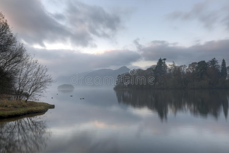 Early Morning Derwentwater. Early monring derwentwater sunrise in the English lake district royalty free stock photography